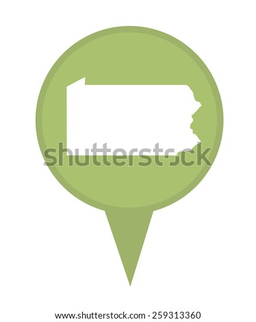 American state of Pennsylvania marker pin isolated on a white background. - stock photo