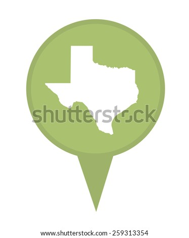 American state of Texas marker pin isolated on a white background. - stock photo