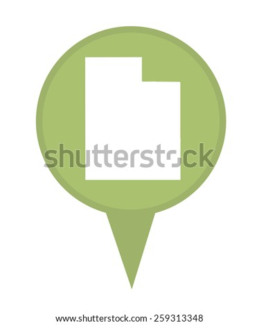 American state of Utah marker pin isolated on a white background. - stock photo