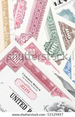 American stock exchange. Old stock share certificates from 1950s-1970s (United States). Vintage scripophily objects. - stock photo