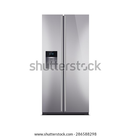 American style fridge freezer isolated on white. The external LED display, with blue glow. Modern refrigerator, stainless steel finish. - stock photo