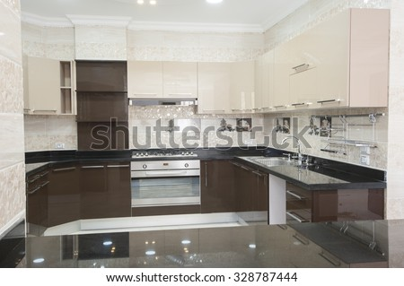 American style kitchen area of a luxury apartment showing interior design - stock photo