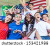 American Supporters at Stadium - stock photo