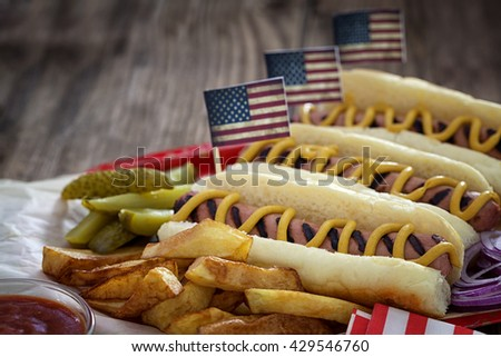 American 4th of July Hot Dogs with copy space - stock photo