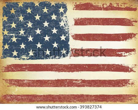 American Themed Flag Background. Grunge Aged. Raster version.Horizontal orientation. - stock photo