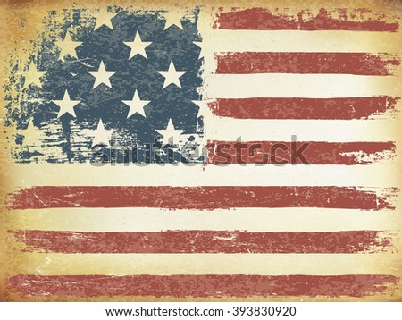 American Themed Flag Background. Grunge Aged. Raster version. Horizontal orientation. - stock photo
