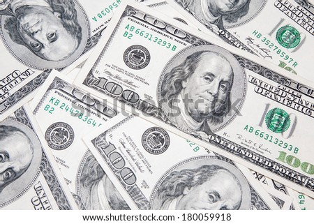 American 100 U.S. dollars on a white background