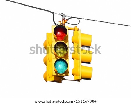 American US yellow street traffic lights isolated on white background - stock photo
