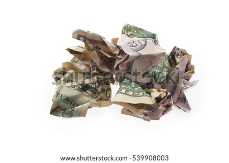 American usa money isolated on white background