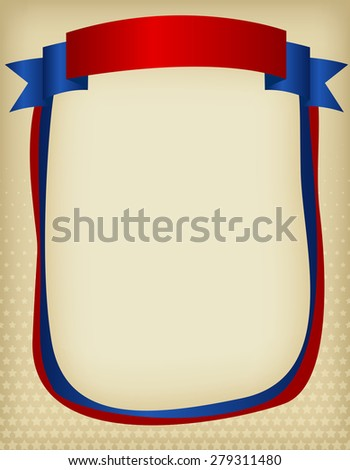 American / USA patriotic frame with ribbon banner on top. A traditional vintage american poster design - stock photo