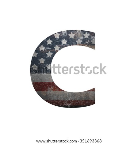 American vintage flag in letter c - stock photo