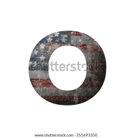 American vintage flag in letter o - stock photo