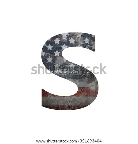 American vintage flag in letter s - stock photo