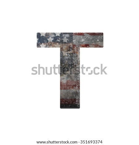 American vintage flag in letter t - stock photo