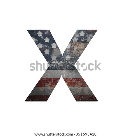 American vintage flag in letter x - stock photo
