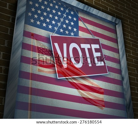 American vote concept and United States elections symbol as a window with a US flag with a voting sign for presidential or government political tradition of democracy to choose a candidate. - stock photo