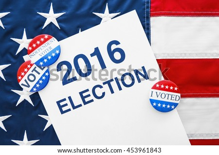 American vote concept. Voter registration application for presidents elections 2016 on stars and stripes background