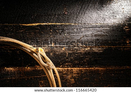 American West rodeo authentic cowboy lariat lasso rope with speed burner on old damaged wood plank boards wall grunge background - stock photo