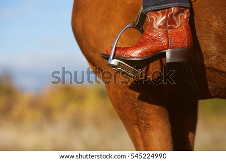 American West rodeo concept. Man in blue jeans and traditional leather cowboy boots riding a horse. Sunny weather. Retro style. Outdoor shot