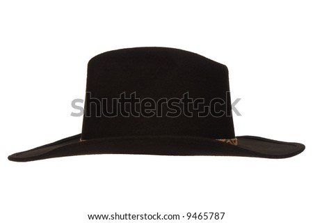 American West rodeo cowboy black felt hat isolated on white 