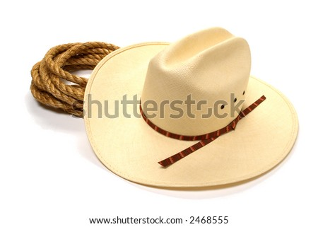 American West rodeo white straw cowboy hat and lasso ranching rope