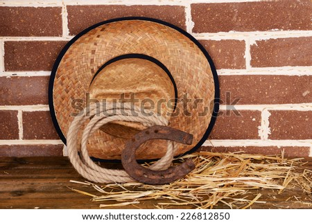 American West still life with old horseshoe, hat and cowboy lasso - stock photo