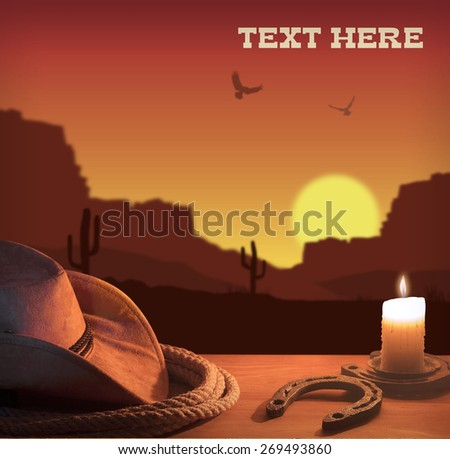 American western poster with cowboy hat and lasso.  - stock photo