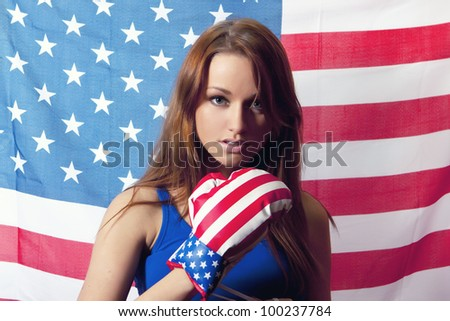 American Woman emotion portrait on white background