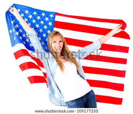 American woman holding the USA flag - isolated over a white background - stock photo