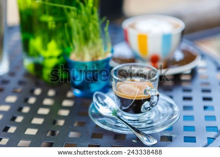 Americano coffee cup on table in cafe  - stock photo