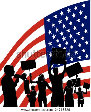 Americans protesting with flag in the background - stock photo