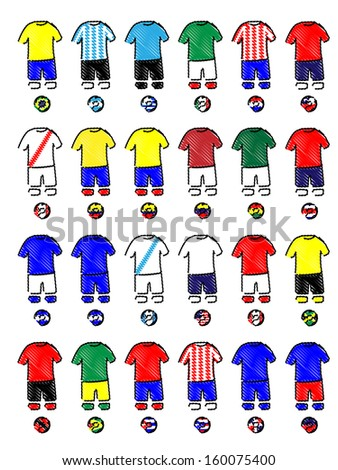 Americas Jerseys Football Kits - stock photo