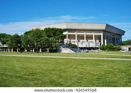 AMES, IA -25 MAY 2016- The Hilton Coliseum sports arena at Iowa State University (of Science and Technology), home of the Cyclones.