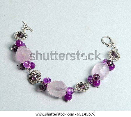 Amethyst bracelet - stock photo
