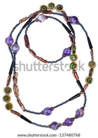 amethyst, ceramic handmade woman necklace isolated on white background - stock photo