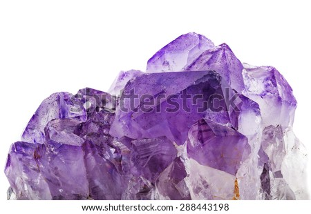 amethyst crystals on white background  - stock photo