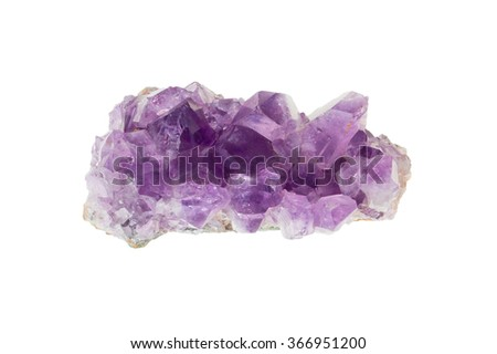 Amethyst mineral isolated on a white background. Mineral stone. Close-up. - stock photo