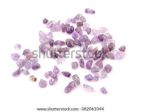 Amethyst natural crystals gem isolated on white background.