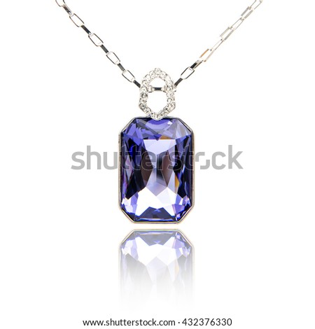 Amethyst pendant isolated on white  - stock photo