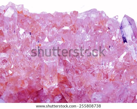 amethyst semigem geode crystals geological mineral isolated  - stock photo
