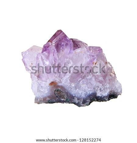 amethyst stone, druse close-up isolated on white background - semiprecious gem used for jewels - stock photo