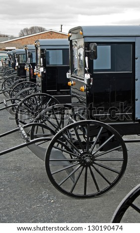 Amish buggies on display at the annual mud sale in Lancaster County, PA.