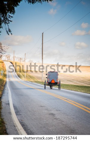 Amish buggy on isolated country road - stock photo