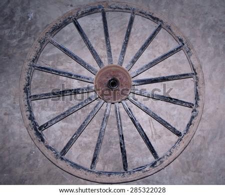 Amish buggy wheel                                 - stock photo