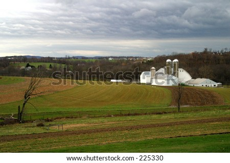 Amish farm, Pennsylvania - stock photo