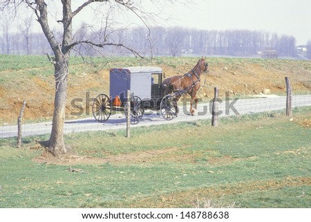 AMISH FARMING COMMUNITY, PA - CIRCA 1980's: A horse and carriage in an Amish farming community