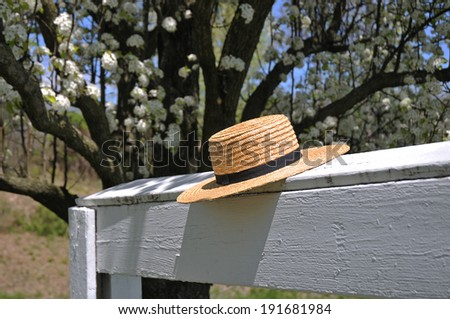 Amish straw hat laying on a white fence with Dogwood trees in the back - stock photo
