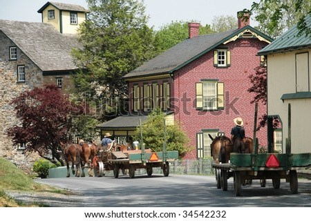 Amish wagons in Pennsylvania - stock photo