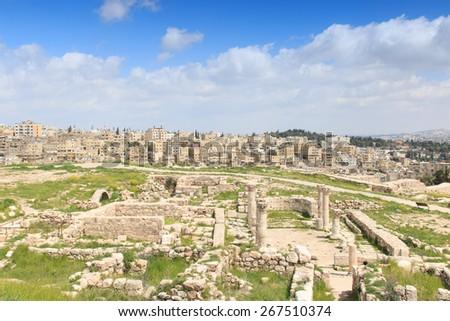 Amman Citadel ruins in Jordan - stock photo