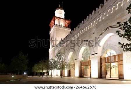 AMMAN, JORDAN - APRIL 06, 2014: King Hussein Bin Talal mosque in Amman (at night), Jordan - stock photo